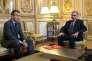 Emmanuel Macron et le secrétaire général du parti Les Républicains, Bernard Accoyer, au palais de l'Elysée, le 20 novembre.