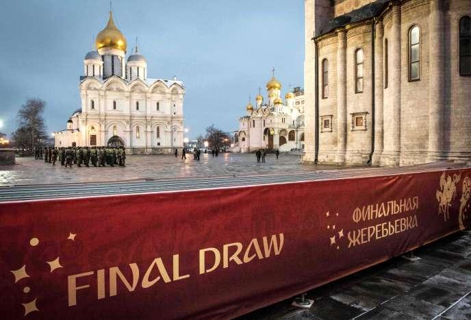 Une répétition, au Kremlin, à Moscou, le 30 novembre, à la veille du tirage au sort de la phase finale du Mondial 2018.