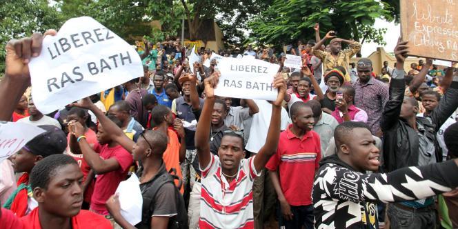 Manifestation de soutien au militant malien Ras Bath, le 17 août 2016 à Bamako, deux jours après son arrestation.
