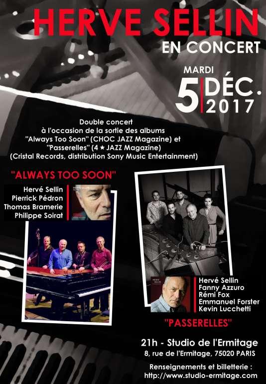 Affiche du double concert du pianiste Hervé Sellin au Studio de L'Ermitage.