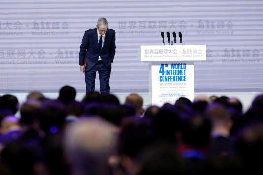 Tim Cook, le 3 décembre, à Wuzhen, lors de la Conférence mondiale de l'Internet.