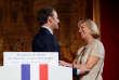 Emmanuel Macron lors de la cérémonie organisée pour le départ d'Evelyne Richard à l'Elysee, le 4 décembre.