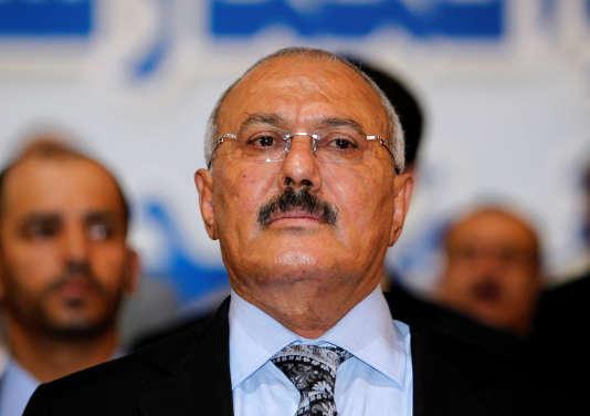 L'ancien président yéméniteAli Abdallah Saleh assiste à une cérémonie à Sanaa, au Yémen, le 3 décembre 2017.