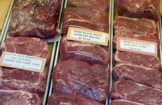 Un étal de viande de bœuf au sein du Eastern Market à Washington, aux Etats-Unis.