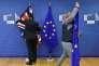 Lundi 4 décembre, à Bruxelles, avant la rencontre entre Theresa May et Jean-Claude Juncker.