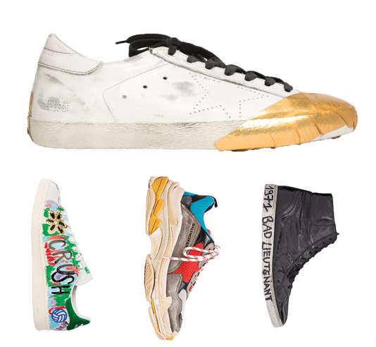 Au-dessus, Super Star de Golden Goose, de gauche à droite Stan Smith d'Adidas customisée par Pharrell Williams, Triple S de Balenciaga et Joe de Saint Laurent par Anthony Vaccarello.