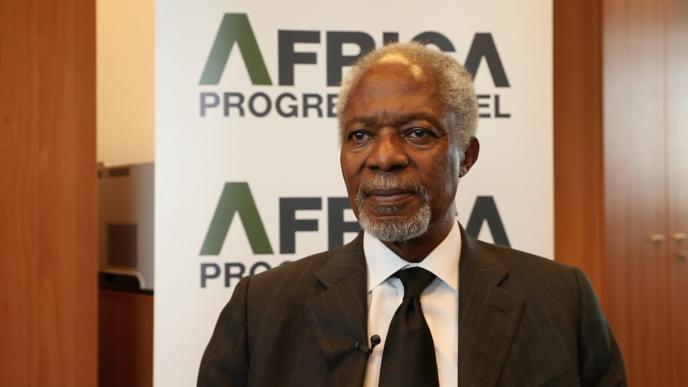Kofi Annan, ancien secrétaire général des Nations unies et ancien président de l'Africa Progress Panel (APP) le 4 décembre 2017, à Genève (Suisse).