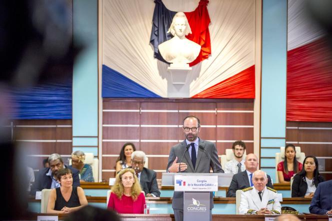 Edouard Philippe, premier ministre, devant le Congrès de Nouvelle-Calédonie, mardi 5décembre.