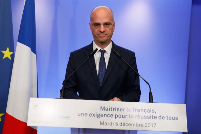 Le ministre de l'éducation Jean-Michel Blanquer, lors d'une conférence de presse, le 5décembre.