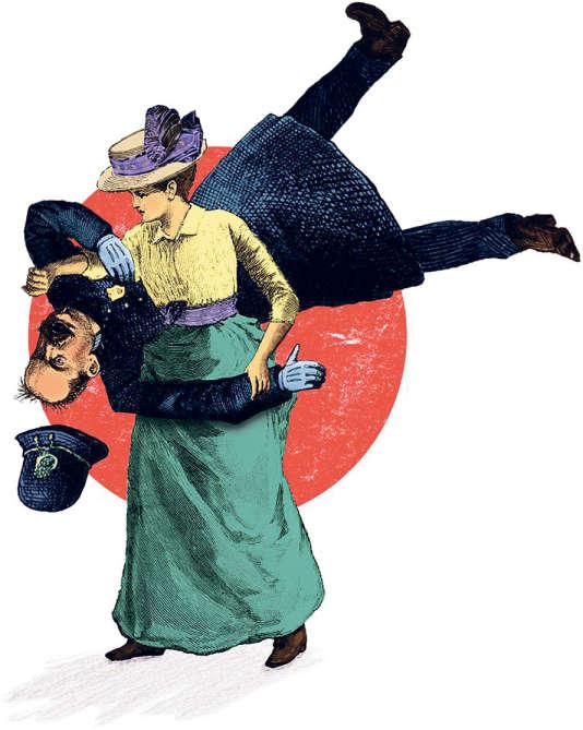 Suffragiste pratiquant le jujitsu, dessin anonyme.