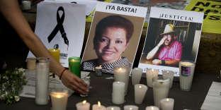Hommage aux journalistes Miroslava Breach (à gauche) et Javier Valdez, assassinés en mai au Mexique.