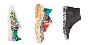 De gauche à droite, Stan Smith d'Adidas customisée par Pharrell Williams, Triple S de Balenciaga.