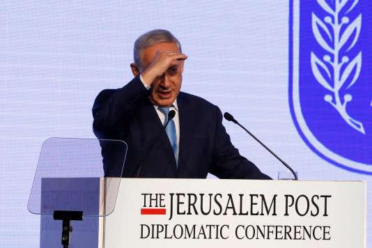 Benyamin Nétanyahou, lors d'une conférence du« Jerusalem Post», à Jérusalem, le 6 décembre.