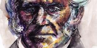 Arthur Schopenhauer, aquarelle et fusain sur papier.