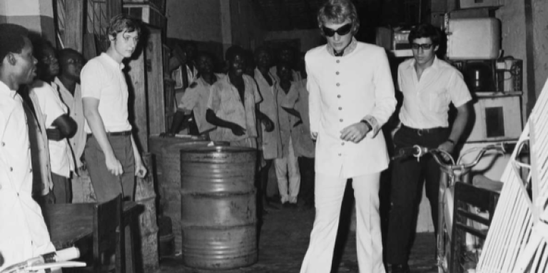 Johnny Hallyday après un concert à Kinshasa, le 15 mai 1968.