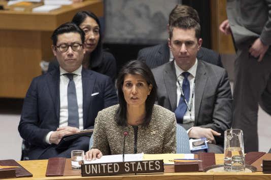 Le 29 novembre, l'ambassadrice des Etats-Unis auprès des Nations unies,Nikki Haley.