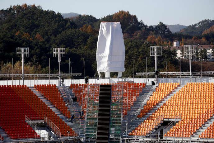 L'Olympic Plaza de Pyeongchang (Corée du Sud), le 30 octobre, qui accueillera la cérémonie d'ouverture des Jeux d'hiver 2018.