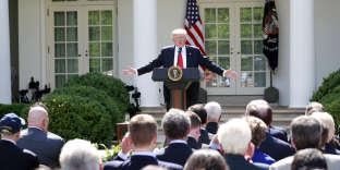 Le président Donald Trump annonçant sa décision de retirer les Etats-Unis de l'accordde Paris sur le climat, à Washington, le 1erjuin.