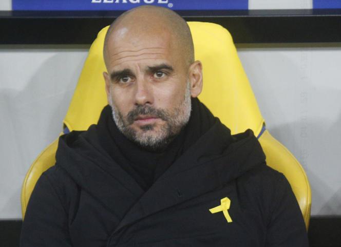 Josep Guardiola, le 6 décembre 2017 en Ukraine, pendant le match Donetsk-Manchester City.