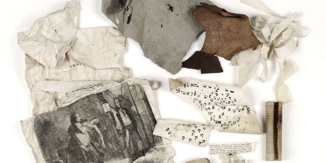 Ensemble de fragments initialement noués dans une feuille de papier journal, probablement versés par un scribe, datable de la fin du XIXe siècle. Genizah de Dambach-la-Ville, Alsace.