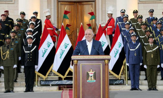 Le premier ministre irakien, Haïder Al-Abadi, lors de son discours devant le ministère de la défense, à Bagdad, le 9décembre.