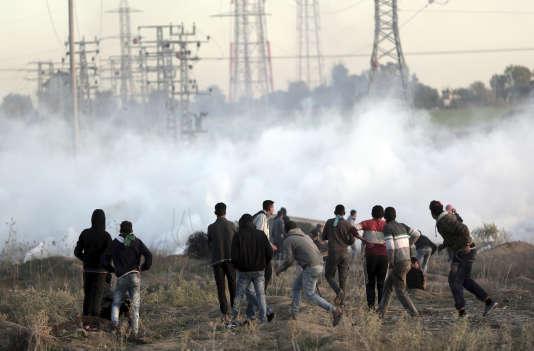 Des manifestants palestiniens dans la bande de Gaza.