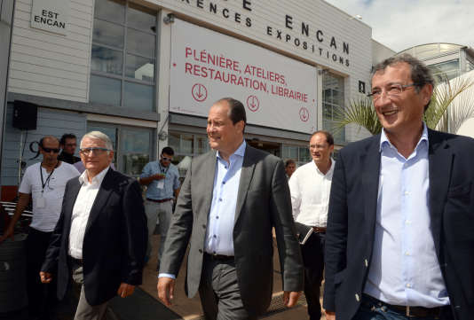 Jean-Christophe Cambadélis et François Lamy lors des universités d'été du PS, à La Rochelle, le 28 août 2015.