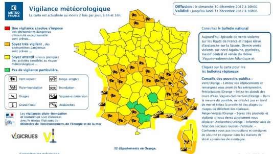 Météo : douze départements en vigilance orange neige et vent