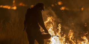 OJAI, CA - DECEMBER 09: A firefighter sets a backfire to make progress against the Thomas Fire before the winds return with the daylight near Lake Casitas on December 9, 2017 near Ojai, California. Strong Santa Ana winds have been feeding major wildfires all week, destroying hundreds of houses and forcing tens of thousands of people to stay away from their homes.   David McNew/Getty Images/AFP