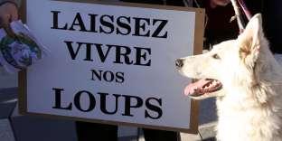 Une manifestation d'associations de protection de la nature, organisée à Nice en janvier 2016, contre la « chasse aux loups».