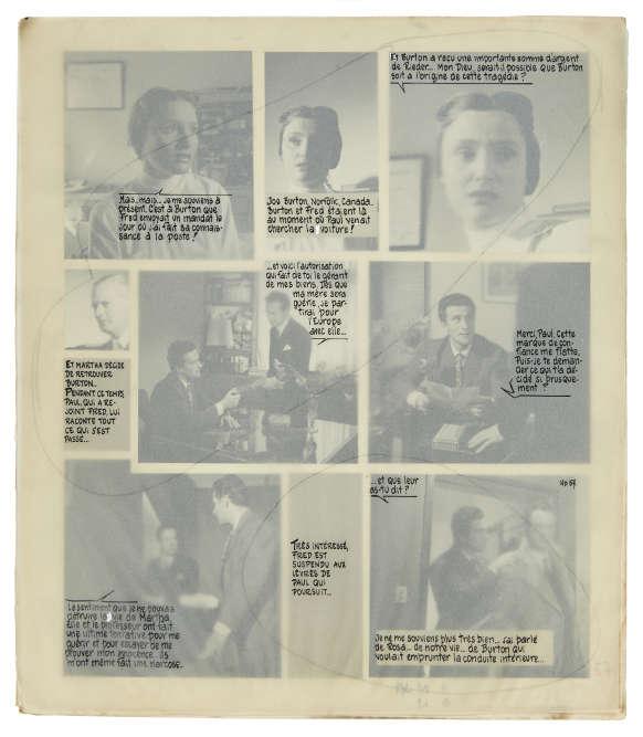 «Pendant très longtemps, les romans-photos étaient entièrement réalisés à la main. Les tirages étaient contrecollés sur une feuille de carton et les bulles ou phylactères‒ manuscrits ou tapuscrits‒ venaient se superposer aux photos sur une feuille de calque.» affurmeFrédérique Deschamps