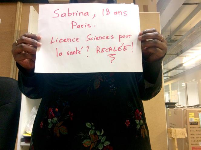 Sabrina, 18 ans, avait postulé dans une licence Sciences pour la santé à l'Université Paris Descartes.