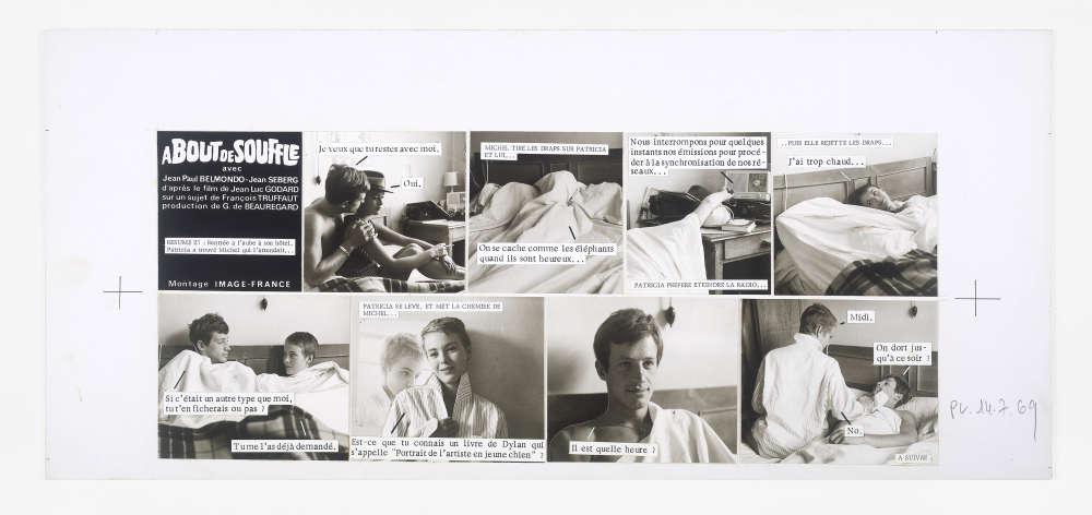 """«Le ciné-roman d'""""A bout de souffle"""" a été réalisé par Raymond Cauchetier, photographe de plateau sur le tournage du film de Jean-Luc Godard en 1959. Cette adaptation sous la forme d'un feuilleton en 50 épisodes a été publiée en 1969 dans """"Le Parisien libéré"""". Les maquettes originales sont des témoins exceptionnels de la technique de fabrication et des modalités artisanales de cette production.» M-C.C."""