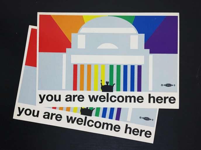 Des autocollants de l'une des nombreuses associations étudiantes LGBTQ de Columbia distribués à la rentrée universitaire.