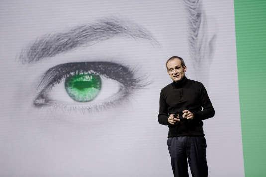 Jean-Pascal Tricoire, patron de Schneider Electric, lors d'un sommet sur l'innovation à Paris, le 1er avril 2016.