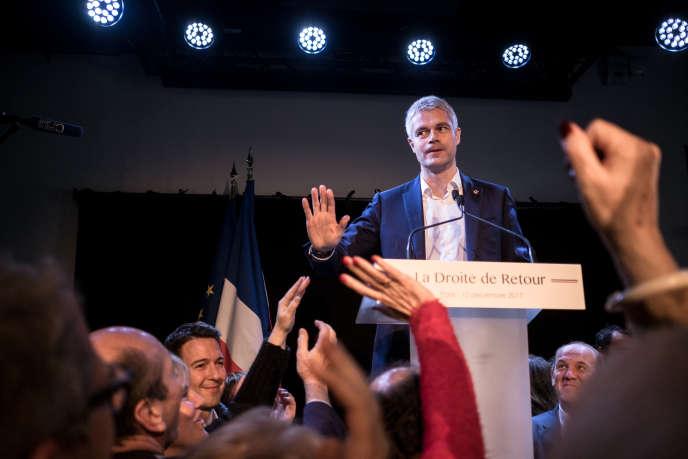 Laurent Wauqiez devant ses soutiens après son élection à la tête de LR, à Paris le 10 décembre.