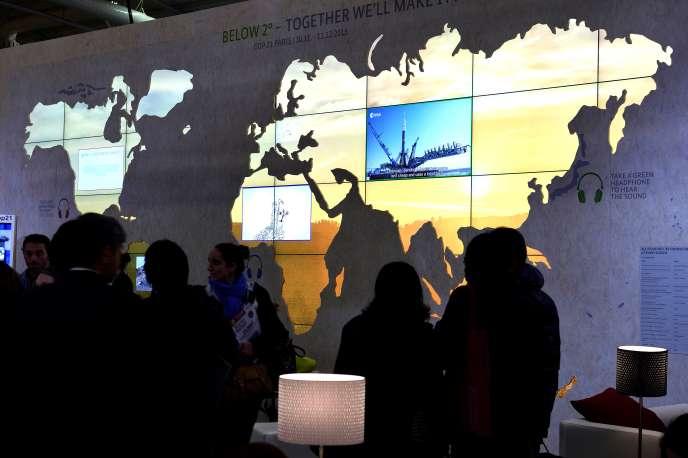 Une carte du monde à la COP 21, la conférence sur le climat au Bourget, près de Paris, en 2015.