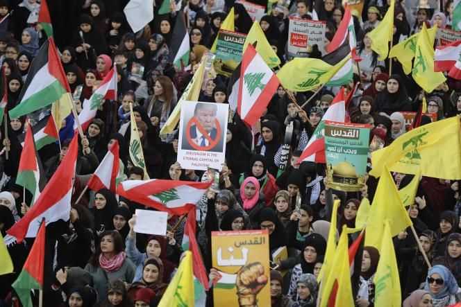 Manifestation contre la reconnaissance de Jérusalem comme capitale d'Israël par Donald Trump, à Beyrouth (Liban), le 11 décembre 2017.
