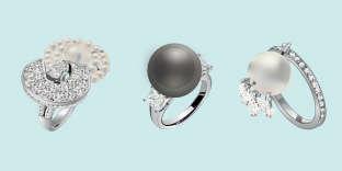 Bague Endless Knot, en or blanc avec diamants et perles de culture du Japon, Chanel.Prix sur demande. www.chanel.com Bague en perle de culture de Tahiti, diamants montés sur platine, Mikimoto. Prix sur demande. Tél. : 01-42-60-33-55. Bague Blanche en or blanc et perle blanche, Solange Azagury-Partridge. Prix sur demande. www.solange.co.uk