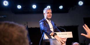 Laurent Wauquiez à la tribune devant ses soutiens le soir de son élection comme président du parti Les Républicains, à Paris, le 10 décembre.