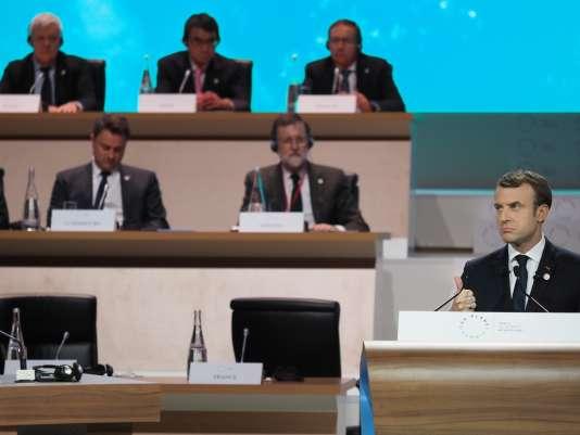 Emmanuel Macron One Planet Summit, à Boulogne-Billancourt, le 12 décembre 2017.