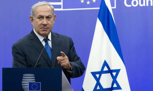 Le premier ministre israélien Benyamin Nétanyahou, le 11 décembre 2017, lors d'une conférence de presse, à Bruxelles.