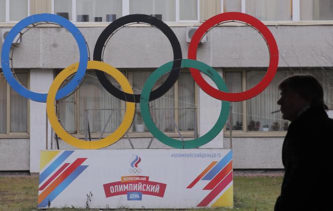 Devant le siège du comité olympique russe, le 12 décembre 2017.