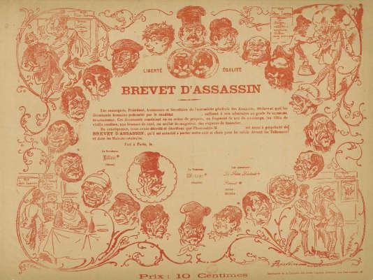 Le « brevet d'assassin » délivré avec le 10e et dernier numéro du« JDA». Extrait du«Journal des Assassins».