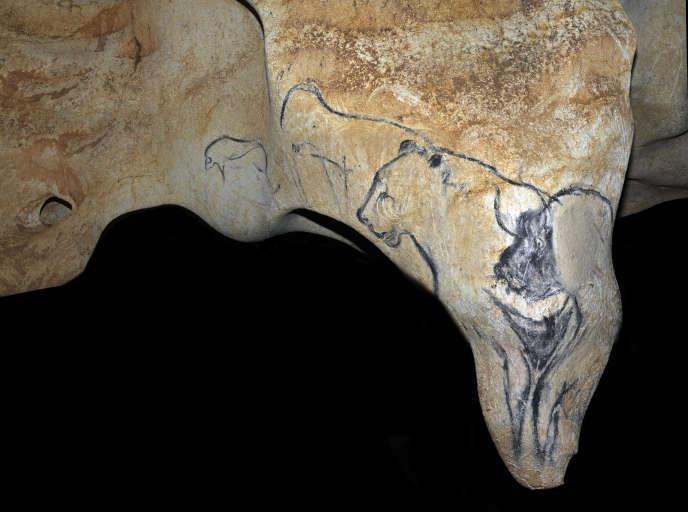 Le pendant de la Vénus, dans la grotte Chauvet, en Ardèche. Des peintures rupestres âgées d'environ 36 000 ans.