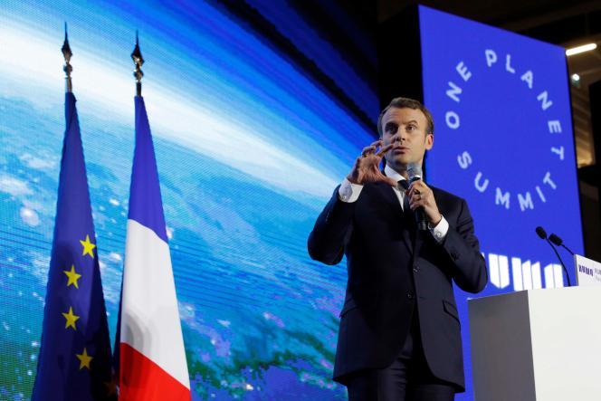 Emmanuel Macron lors de la présentation du «One Planet Summit», à Paris, le 11décembre.