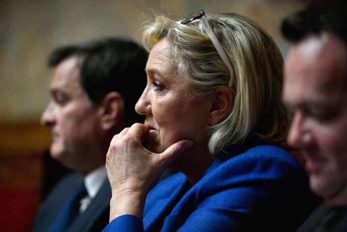 Marine Le Pen à l'Assemblée nationale, le 12 décembre 2017.