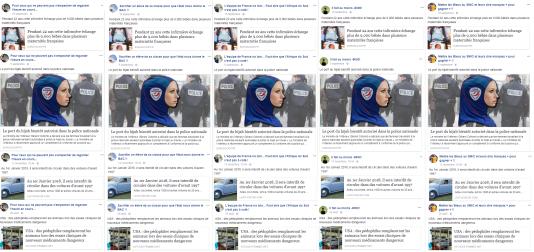 Captures d'écran de cinq pages Facebook différentes qui ont relayé les mêmes fausses informations au même moment à quatre reprises.