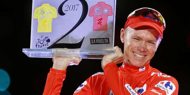 Chris Froome célèbre sa victoire sur le Tour d'Espagne, le 10 septembre à Madrid.