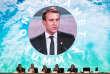 """Le président français Emmanuel Macron prononce un discours, le 12 décembre 2017, à la Seine Musicale sur l'île Seguin à Boulogne-Billancourt, lors de la séance plénière du """"One Planet Summit""""."""